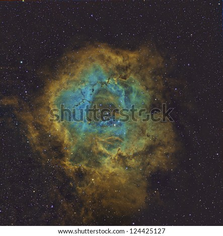 Rosette Nebula in Hubble Palette - stock photo