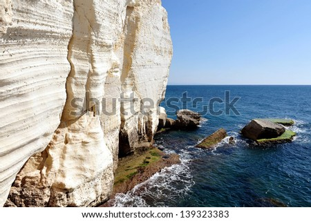 Rosh HaNikra grottos at the Western Galilee in North Israel. - stock photo