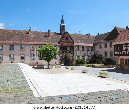 ROSHEIM, FRANCE - MAY 10, 2015: Central square in Rosheim, a village on the Romanesque route of Alsace, France. - stock photo