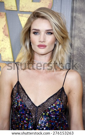 Rosie Huntington-Whiteley at the Los Angeles premiere of 'Mad Max: Fury Road' held at the TCL Chinese Theatre IMAX in Hollywood, USA on May 7, 2015.  - stock photo