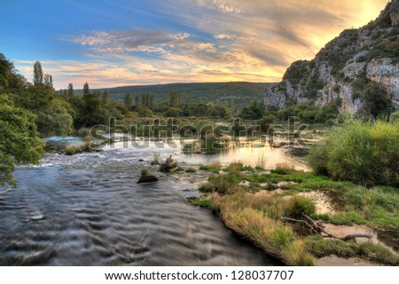 Roski Slap and the river Krka in Croatia - stock photo