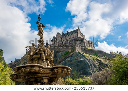 Ross fountain landmark in Pinces Street Gardens. Edinburgh, Scotland, Uk. - stock photo