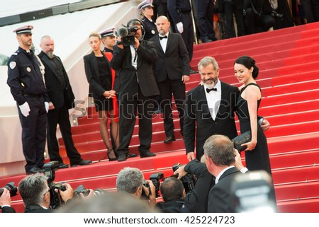 Rossalind Ross, Mel Gibson  at the Palme D'Or Winner Red Carpet at the 69th Festival de Cannes. May 22, 2016  Cannes, France  - stock photo