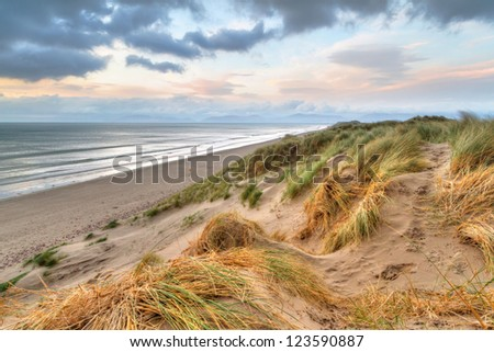 Rossbeigh beach dunes at sunset, Ireland - stock photo