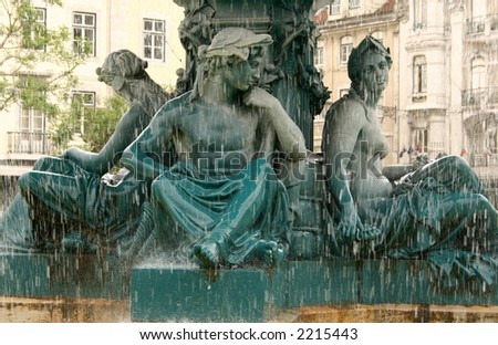 Rossio Fountain Detail - stock photo