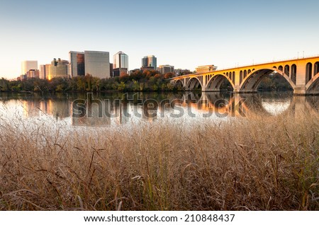 Rosslyn Key Bridge Washington DC Metro Skyline Cityscape - stock photo