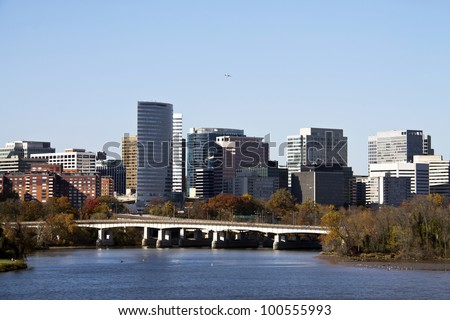 Rosslyn Virginia skyline viewed from Memorial Bridge, Washington, DC - stock photo