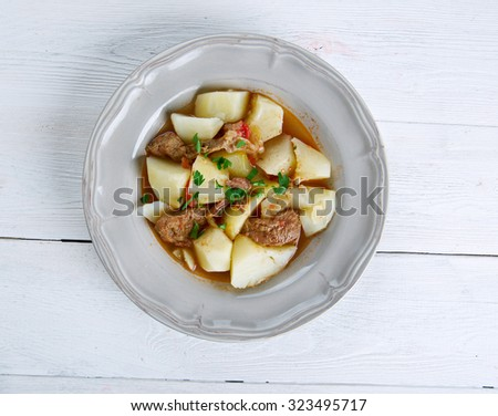 Rossypottu - traditional Finnish dish.stew made using potatoes, some pork - stock photo