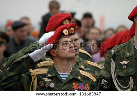 ROSTOV-ON-DON, RUSSIA - MAY 9: The 60th anniversary of Victory Day (WWII) - soldiers marching at Theater Square, May 9, 2005 in Rostov-on-Don, Russia - stock photo