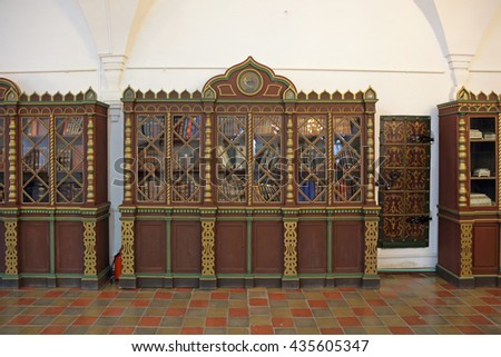 ROSTOV, YAROSLAVL OBLAST, RUSSIA - MAY 02, 2014: White dining room chamber (the Museum of Church antiquities) on the territory of the Rostov Kremlin (Golden Ring). Library - stock photo