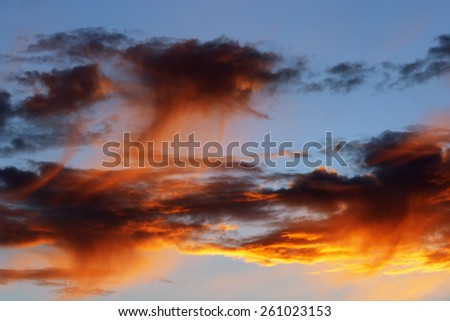 rosy sky - sunset glow - stock photo