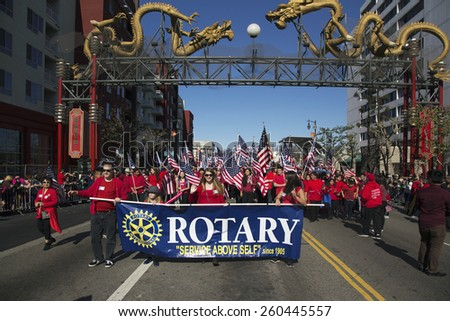 Rotary Club, 115th Golden Dragon Parade, Chinese New Year, 2014, Year of the Horse, Los Angeles, California, USA, 02.01.2014 - stock photo
