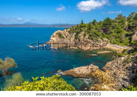 Rotary Park lookout in Eden in the sapphire coast, situated on the magnificent waters of Twofold Bay, is a coastal town in the South Coast region of New South Wales, Australia. - stock photo