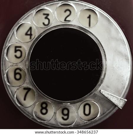 Rotary phone numbers close up - stock photo