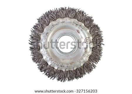 rotating metal brushe - stock photo