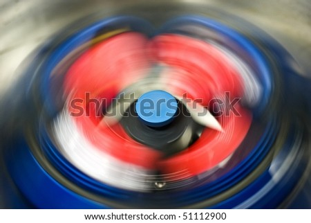 rotating rotor of centrifuge - stock photo
