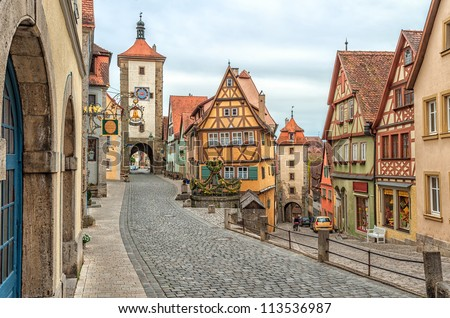 Rothenburg ob der Tauber, famous historical old town, Germany, Europe - stock photo