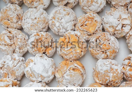 Rothenburg schneeballen (snowball) pastry with sugar powder on the table  - stock photo