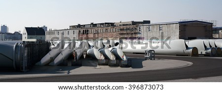 rotor blades of a wind turbine at a storage area  - stock photo