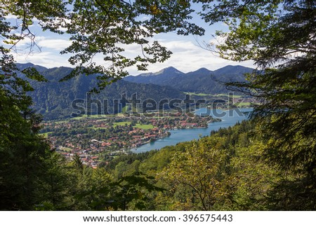 rottach-egern spa town from tegernsee hillside hiking trail, bavarian landscape - stock photo