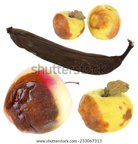 Rotten fruits isolated on white - stock photo