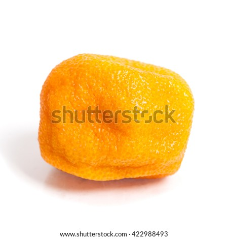 Rotten orange isolated on white background - stock photo