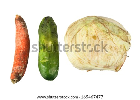Rotten Vegetables on White Background - stock photo
