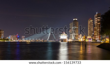 Rotterdam Centre with cruise ship - stock photo