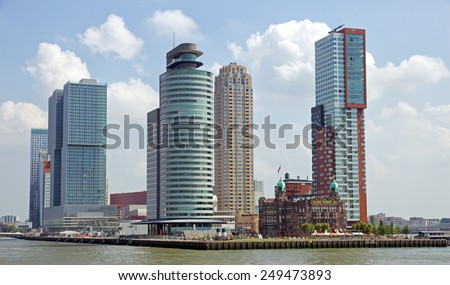 Rotterdam city skyline, The Netherlands - stock photo