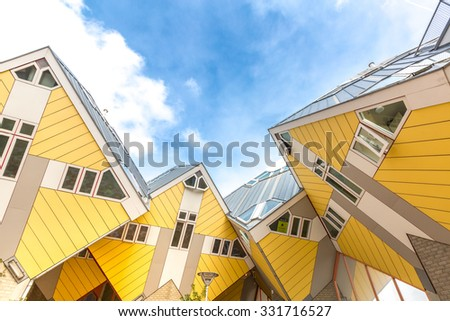 ROTTERDAM; Netherlands - APR 7: Cube houses designed by Piet Blom on April 7; 2015 in Rotterdam; Netherlands. They represents a village where each house is a tree. All the houses together a forest. - stock photo