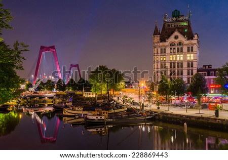 Rotterdam, Netherlands - August 7: Rotterdam Cityscape, The Netherlands on August 7, 2014. Rotterdam is a city defined by modern architecture, with very few old parts, like Oude Haven. - stock photo
