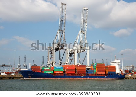 ROTTERDAM, NETHERLANDS - MAR 16, 2016: Container ship Conmar Bay moored at a container terminal in the Port of Rotterdam. - stock photo