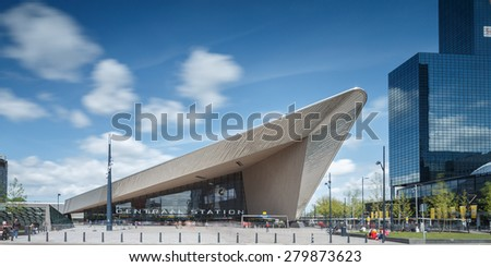 ROTTERDAM, NETHERLANDS - MAY 17: City skyline of Rotterdam Central Station, an important transport hub with 110000 passengers per day on May 17 2015  at Rotterdam,  - stock photo