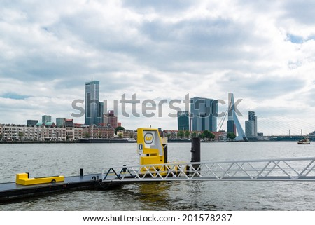 ROTTERDAM, NETHERLANDS - MAY 29, 2014: Water taxi pick-up point at the embankment on May 29, 2014 in Rotterdam, the Netherlands. With about 50 departure locations it often offers a quicker means of - stock photo