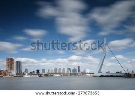 Rotterdam Netherlands, skyline of Rotterdam at the 17th of May 2015. - stock photo