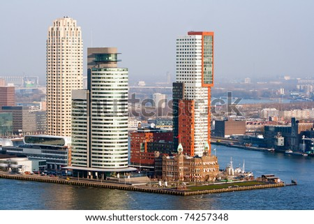 Rotterdam skyline on a cold winter day - stock photo