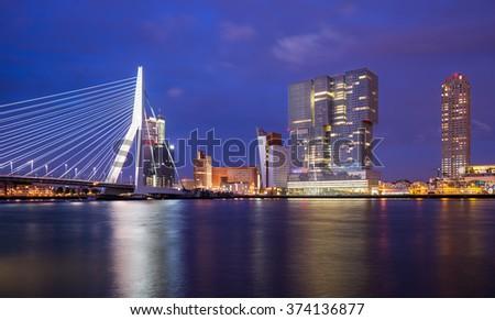 Rotterdam Skyline Skyline with Erasmus Bridge (Kop van Zuid neighborhood), The Netherlands - stock photo