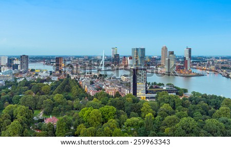 Rotterdam skyline with the central and business area of the city along the Nieuwe Maas (New Meuse) river. - stock photo