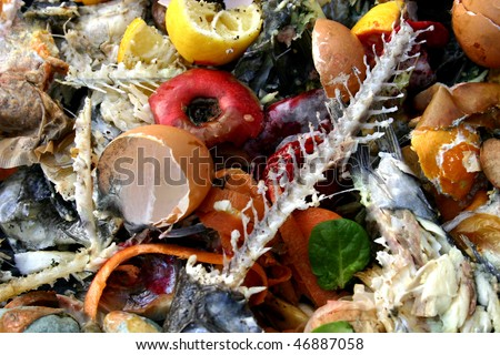Rotting and discarded food and related materials. - stock photo