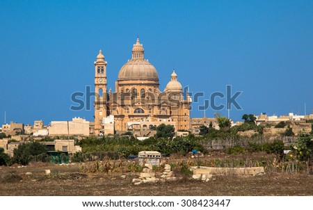 Rotunda in city Xewkija at Gozo island, Malta - stock photo