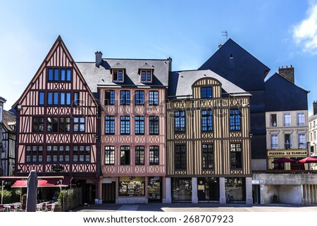 ROUEN, FRANCE - JULY 17, 2012: Cityscape of Rouen. Rouen in northern France on River Seine - capital of Upper Normandy region and historic capital city of Normandy. - stock photo