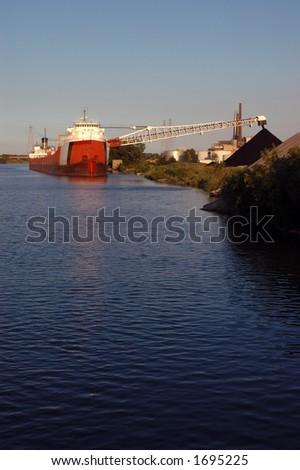 Rouge River coal ship - stock photo