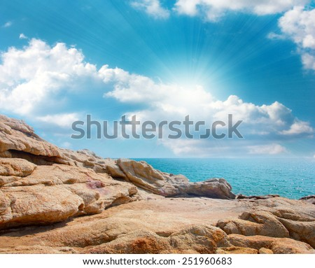 Rough and uneven surface of the rock - stock photo