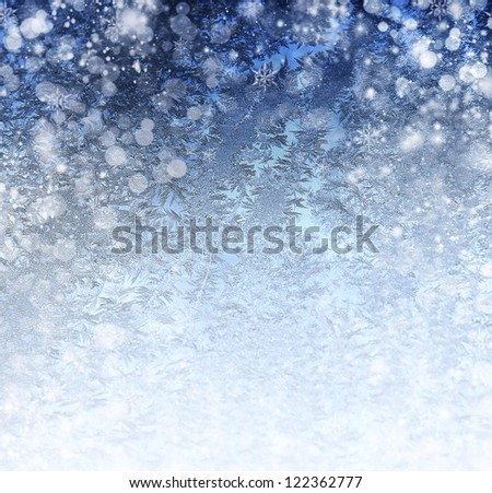 rough blue holiday cover with many snowflakes - stock photo
