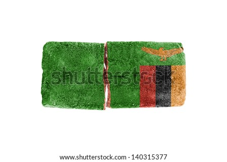 Rough broken brick, isolated on white background, flag of Zambia - stock photo