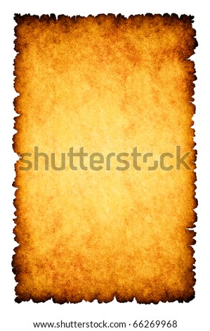 Rough burnt parchment paper background isolated on white - stock photo