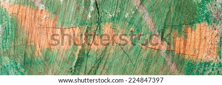 Rough Fragment of the Wood  Painted in Turquoise - stock photo