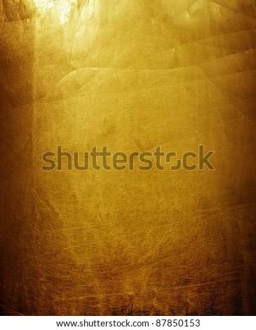 rough golden plate - stock photo