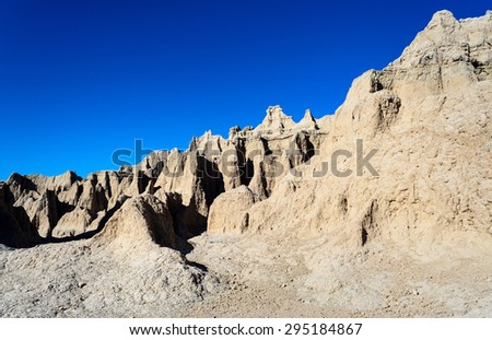 Rough Jagged Rock Formations at Badlands National Park - stock photo
