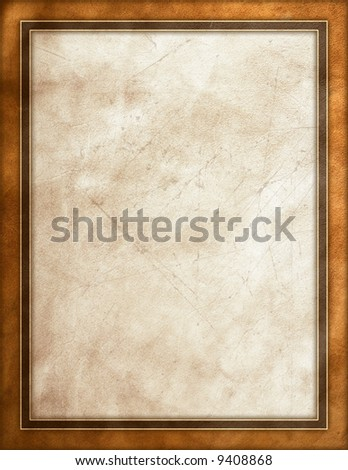 Rough leather texture beige border frame - stock photo